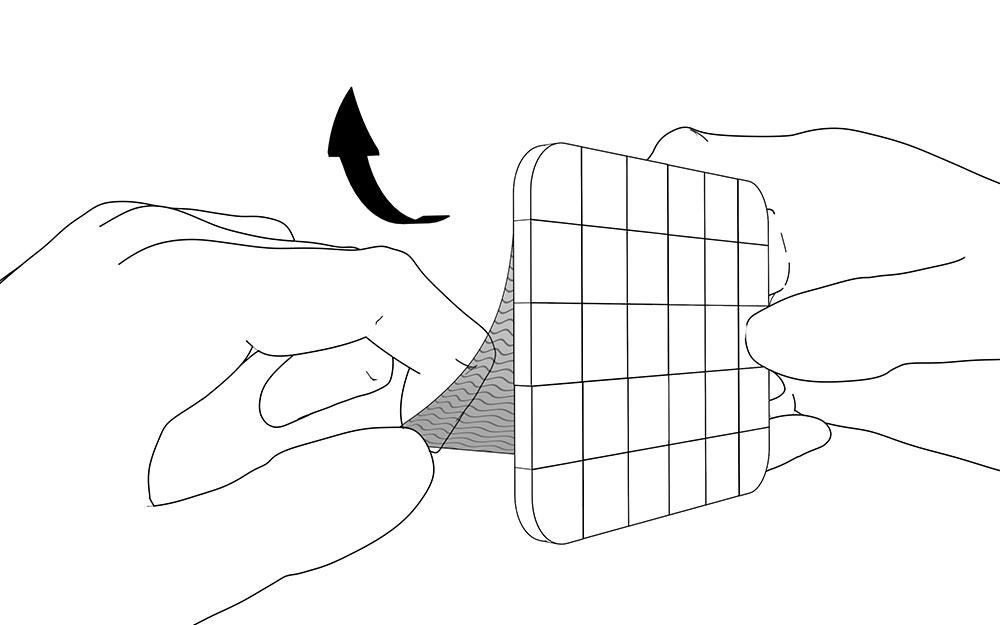 LIQUEEL<sup>®</sup> GD - adaptierbare sanft haftende Wundauflage aus Polyurethanschaum mit Silikonbeschichtung | Anwendungshinweis - Schritt 6