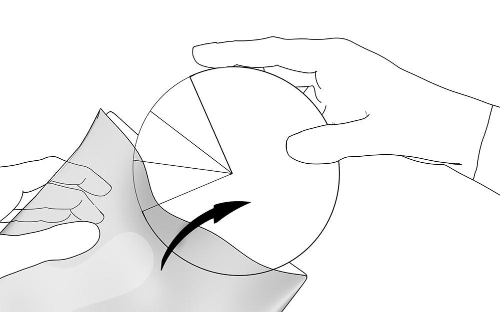 LIQUEEL<sup>®</sup> PT - adaptierbare sanft haftende Wundauflage aus Polyurethanschaum mit Silikonbeschichtung | Anwendungshinweis - Schritt 1